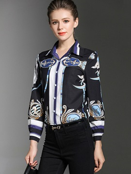 Fall Polo Neck Slim Print Blouse