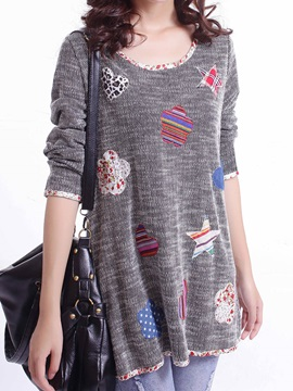 Fashion Long Sleeve Patchwork Round Neck Blouse