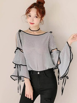 Flare Sleeve Loose Plaid Women's Blouse