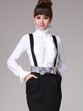 Slim Stand Collar Ruffles Blouse