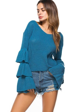 Ruffle Sleeve Lace-Up Round Neck Knitwear