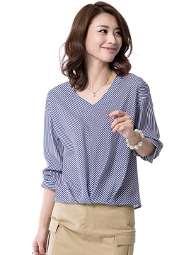 Long Sleeve Polyester Stripe Blouse