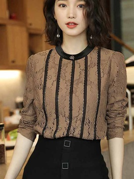 Long Sleeve Pullover Round Neck Slim Blouse