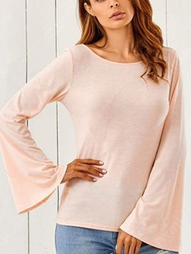Flare Sleeve Long Sleeve Round Neck Blouse