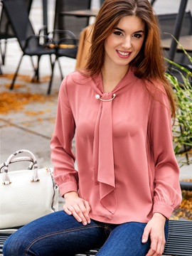 Long Sleeve Pullover Plain Women's Blouse