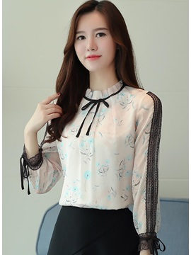 Floral Long Sleeve Slim Blouse