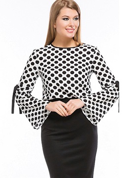 Flare Sleeve Lace-Up Polka Dots Blouse
