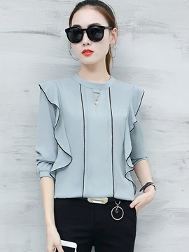 Loose Plain Long Sleeve Plain Women's Blouse