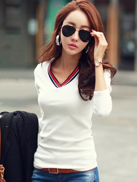 Long Sleeve Slim Stripe Women's Blouse