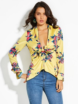 Tidebuy Long Sleeves Bow Floral Women's Bluse
