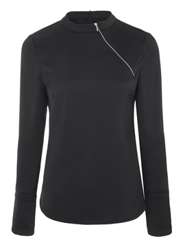 Slim Polyester Long Sleeve Zipper Women's Blouse