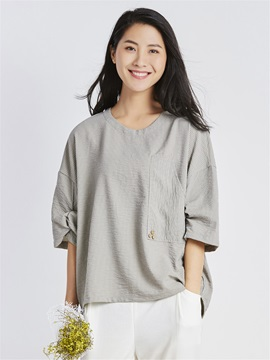 Loose Plain Round Neck Pullover Women's Blouse