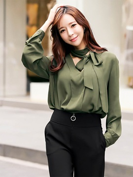 Lantern Sleeve Long Sleeve Plain Women's Blouse