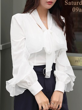 Long Sleeve Slim Bowknot Women's Blouse