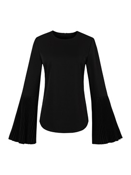 Round Neck Cotton Blends Flare Sleeve Women's Blouse