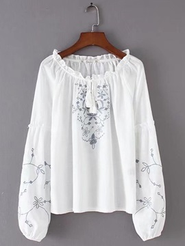 Round Neck Embroidery Women's Blouse