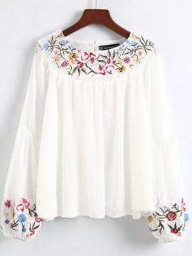 Round Neck Floral Embroidery Women's Blouse