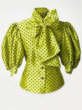 Polka Dot Bow Tie Front Women's Blouse