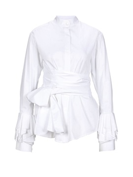 Bow Tie Front Stand Collar Long Sleeve Women's Blouse