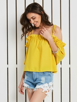Half Sleeve Backless Lace-Up Women' s Blouse