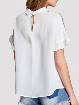 Peter Pan Collar Embroidery Women's Blouse