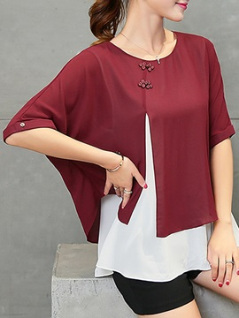 Half Sleeve Double-Layer Patchwork Women's Blouse