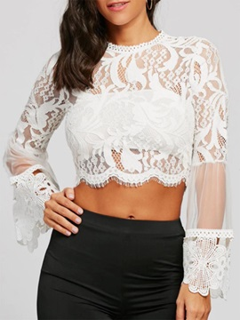 Lace Flare Sleeve Hollow Women's Blouse