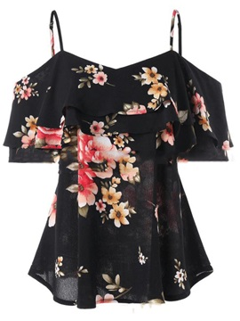 V-Neck Floral Print Women's Blouse