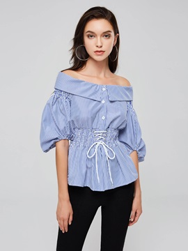 Lace Up Puff Sleeve Slash Neck Women's Blouse