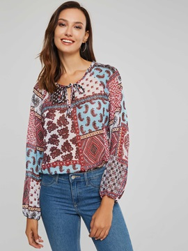 Bohemian Floral Print Long Sleeve Women's Blouse