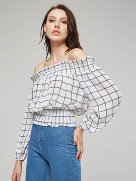 Slash Neck Off Shoulder Plaid Short Women's Blouse