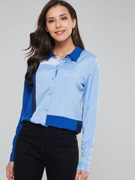 Color Block Button Polo Neck Women's Shirt