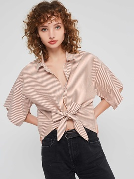 Bowknot Lapel Stripe Short Sleeve Women's Blouse