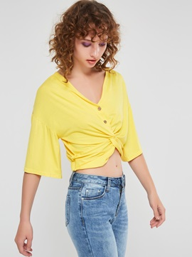 Plain Button V-Neck Short Women's Blouse