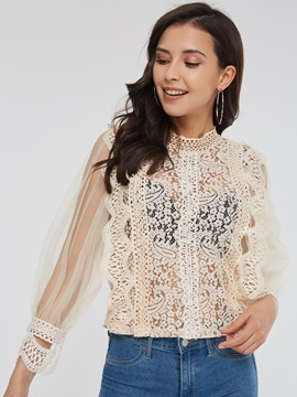 Lace Mesh See-Through Long Sleeve Women