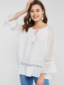 Round Neck Flare Long Sleeve Lace-Up Women's Blouse
