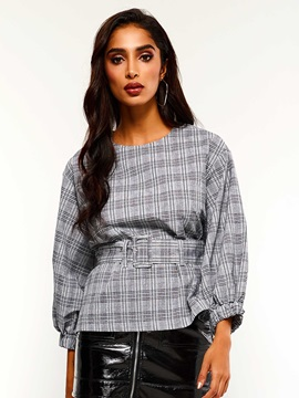 Plaid Belt Round Neck Three-Quarter Sleeve Women's Blouse