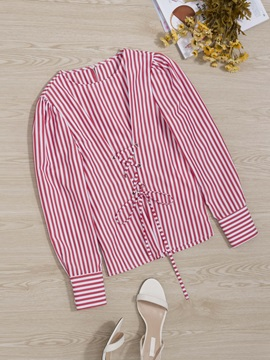 Chic Long Sleeve Striped Lace-Up Women's Blouse