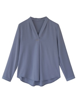 V-Neck Plain Long Sleeve Women's Blouse