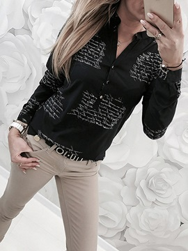 Letter Print Long Sleeve Buttons Women's Blouse