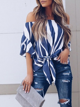 Off Shoulder Stripe Three-Quarter Sleeve Women's Blouse