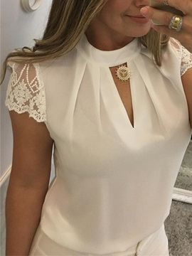 Lace Short Sleeve Summer Zipper Women's Blouse