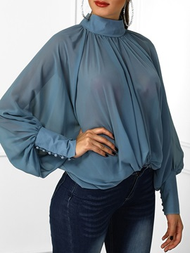 Plain Batwing Sleeve Long Sleeve Chiffon Women's Blouse