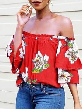 Off Shoulder Print Floral Three-Quarter Sleeve Women's Blouse