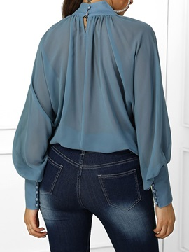 See-Through Plain Turtleneck Long Sleeve Women's Blouse