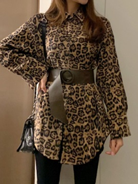 Lapel Leopard Print Long Sleeve Mid-Length Women's Blouse