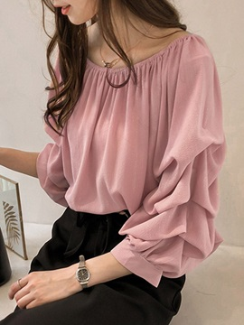 Plain Heap Nine Points Sleeve Women's Blouse
