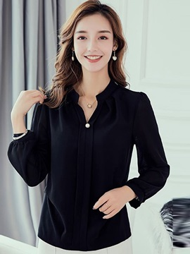 Plain V-Neck Long Sleeve Bead Women
