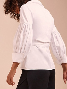 Lantern Sleeve Button V-Neck Three-Quarter Sleeve Women's Blouse
