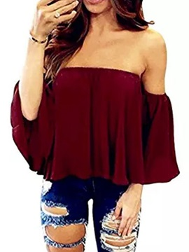 Plain Patchwork Off Shoulder Three-Quarter Sleeve Standard Women's Blouse